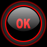 ok black and red glossy internet icon on black background