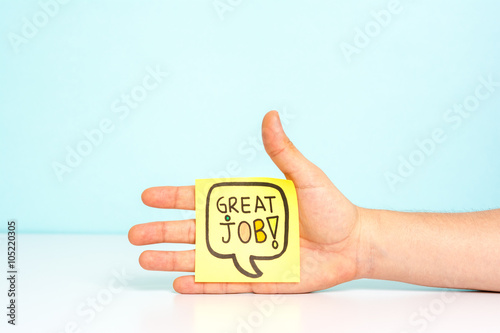Poster Hand showing a message with great job / well done. Award concept