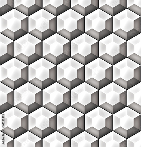 Fototapeta Geometric seamless pattern of three‐dimensional hexagons. Gray scale background vector design with optical effect.