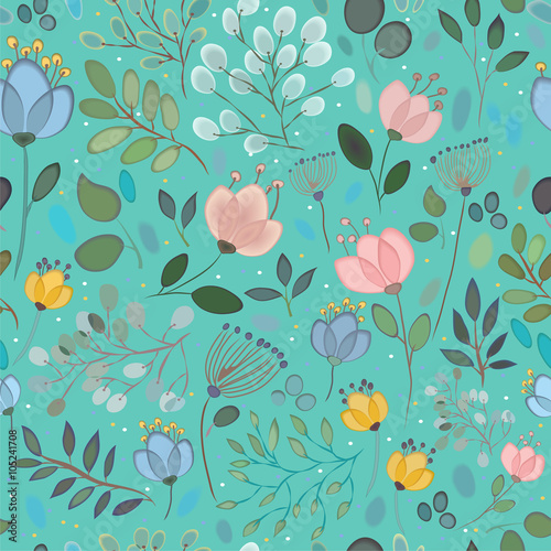 Cotton fabric Spring Flowers. Vector Seamless Pattern