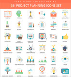 Fototapety Vector Project planning color flat icon set. Elegant style design.