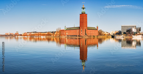In de dag Stockholm Panoramic image of Stadshuset, Stockholm City-hall.