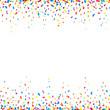 Celebration background with colorful confetti – seamless confetti borders on white background. Vector illustration.