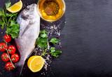 fresh fish dorado with vegetables
