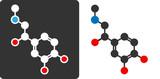 Adrenaline (epinephrin, adrenalin) molecule, flat icon style.