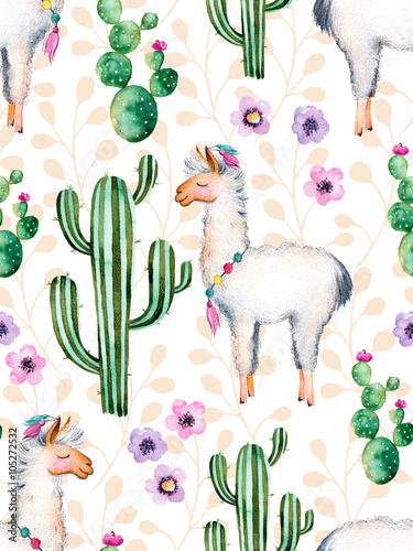 Seamless texture with high quality hand painted watercolor elements for your design with cactus plants,flowers and lama.For your unique creation,wallpaper,background,blogs,pattern,invitations and more - 105272532