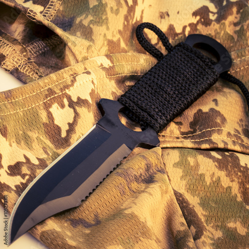 Poster uniform camouflage helmet and army knife