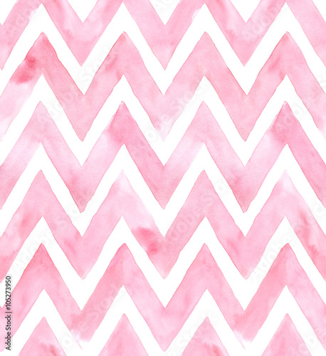 Chevron of pink color on white background. Watercolor seamless pattern - 105273950