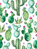 Seamless pattern with high quality hand painted watercolor cactus plants and purple flowers.Pastel colors,Perfect for your project,wedding,greeting card,photos,blogs,wallpaper,pattern,texture and more