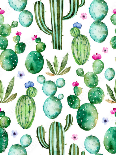Seamless pattern with high quality hand painted watercolor cactus plants and purple flowers.Pastel colors,Perfect for your project,wedding,greeting card,photos,blogs,wallpaper,pattern,texture and more - 105274996