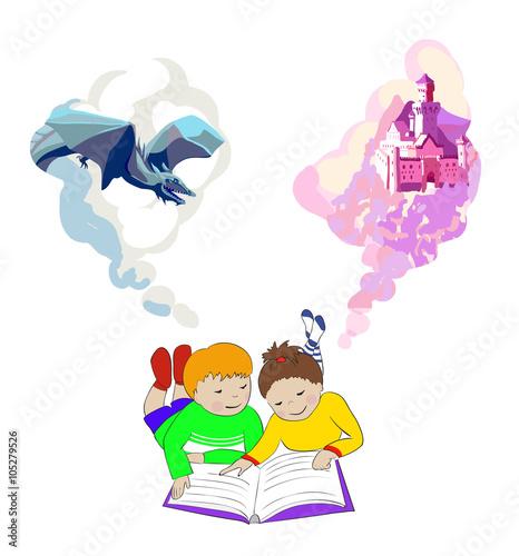 Children lying and reading book. Kids imagination. © xana_ukr