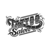 Vector tattoo salon logo  on white background. Cool retro styled vector emblems