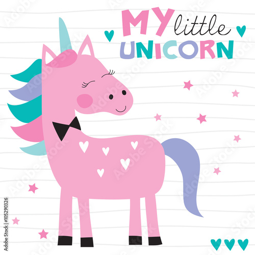 cute colorful unicorn vector illustration Poster