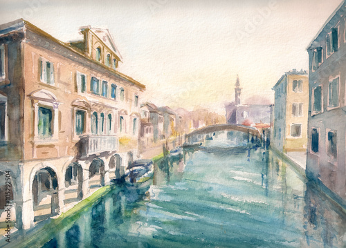 Obraz na Szkle Canal at the old town of Chioggia - Italy.Picture created with watercolors