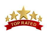 Fototapety top rated 5 stars with red ribbon