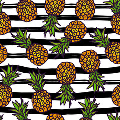 Pineapple seamless pattern on strips background.