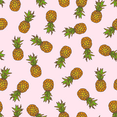 Pineapple seamless background.