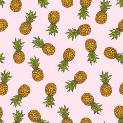 Pineapple seamless background.