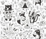Hand drawn camping seamless pattern with cartoon characters in monochrom