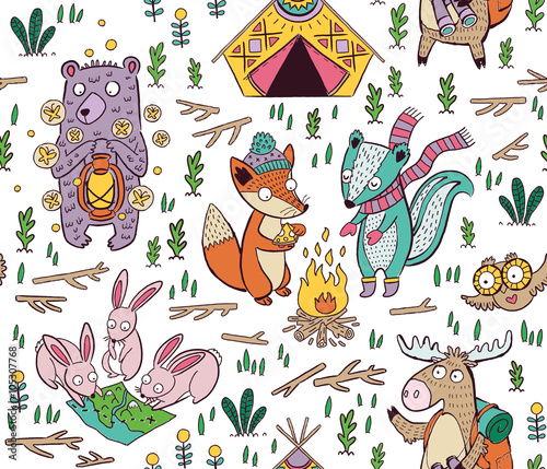 Cotton fabric Hand drawn camping seamless pattern with cartoon characters