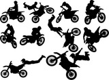 Fototapety The set of biker silhouettes