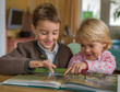 Kinder sehen Buch an