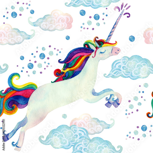 Watercolor fairy tale seamless pattern with flying unicorn, magic clouds and rain