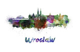 Wroclaw skyline in watercolor