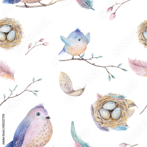 Cotton fabric Watercolor  spring  rustic pattern with nest, birds, branch,tree