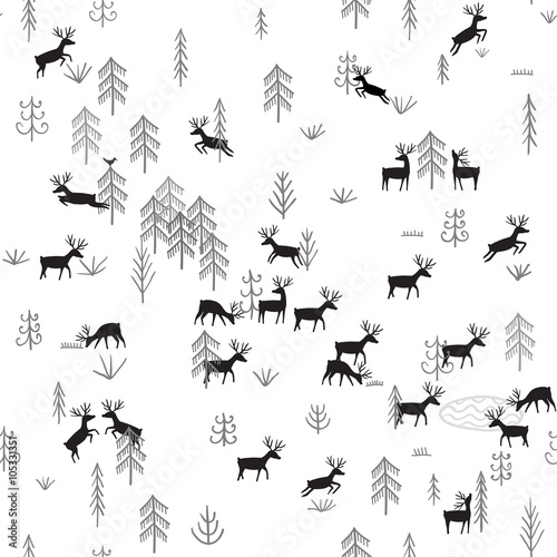 Materiał do szycia Vector seamless pattern with wild forest life and deers