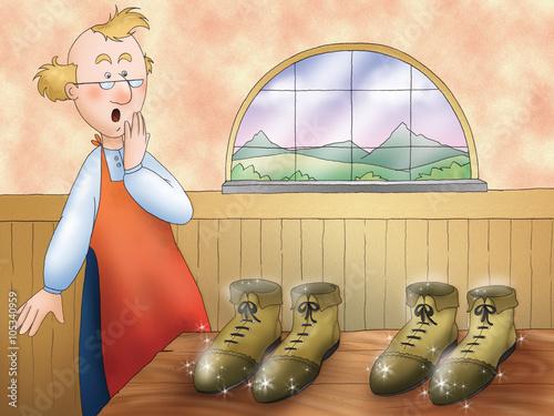 Zdjęcia na płótnie, fototapety, obrazy : Elves made magic pairs of shoes. Illustration for the folktale