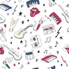Music symbols. Seamless pattern. rock music background textures,