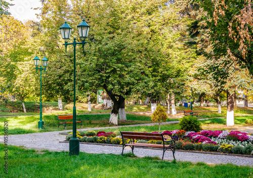 Fototapeta old city park with lantern