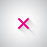 Pink Cancel web icon on light grey background