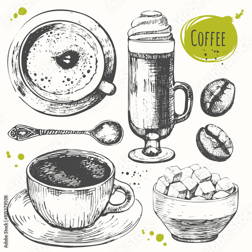 Vector illustration with coffe drinks. Decorative elements for your design.