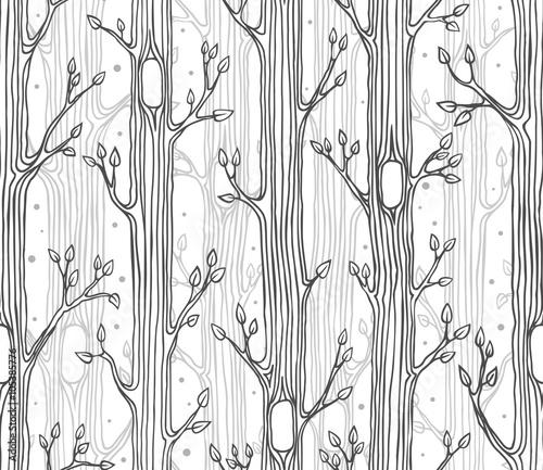Materiał do szycia Seamless pattern with trees