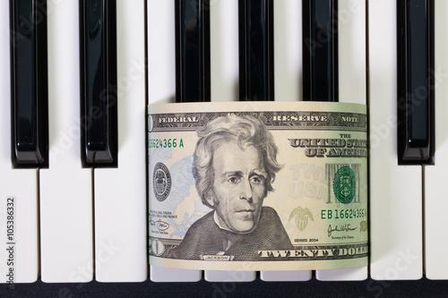 Poster Piano keyboard and US dollar banknote