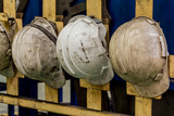 White hard hat Plastic safety helmet