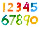 Fototapety Handwritten Numbers on White Background - Vector Illustration
