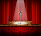 Microphone and red curtain  - 105401743