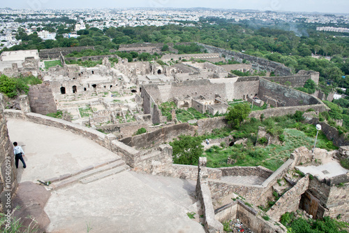 Aerial view of a sprawling part of the Golconda Fort Poster