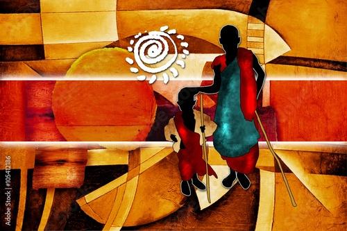 afrykanski-etniczne-retro-vintage-ilustracji