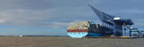 Container ship being unloaded at Felixstowe panorama docks suffolk  England.