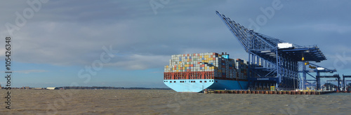 Poster  Container ship being unloaded at Felixstowe panorama docks suffolk  England