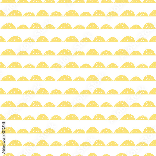Scandinavian seamless yellow pattern in hand drawn style. Stylized hill rows. Wave simple pattern for fabric, textile and baby linen. - 105427143