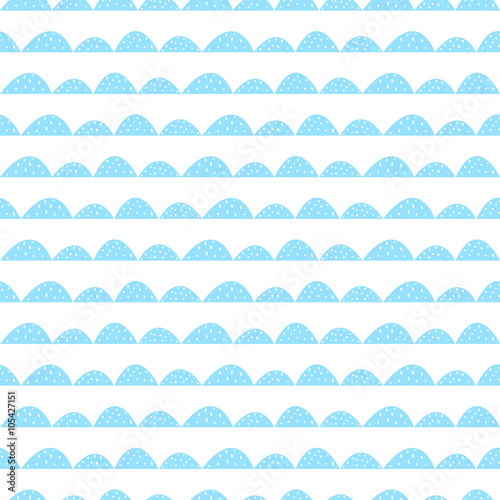 Scandinavian seamless blue pattern in hand drawn style. Stylized hill rows. Wave simple pattern for fabric, textile and baby linen. - 105427151
