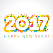 Detaily fotografie 2017 happy new year numbers colorul. Happy holidays card with figures 2017 on colored blister and greeting text
