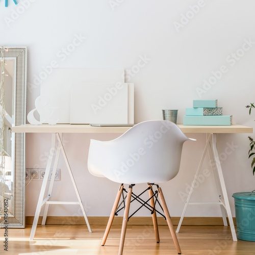 Simple Desk And White Chair Buy Photos Ap Images Detailview
