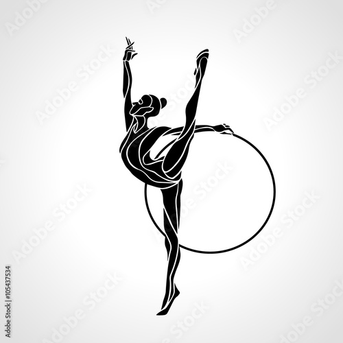 Rhythmic Gymnastics with Hoop Silhouette on white background Poster