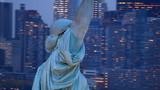 Statue of Liberty at dusk, closeup aerial shot - 105440936
